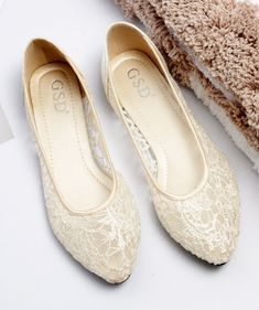 0d140705746f Champagne Ballet Flats Slippers Shoes Evening Lace flat Party flat Wedding  Flats