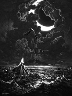 Nicolas Delort (contemporary Canadian)  Where the Wild Things Are, scratchboard