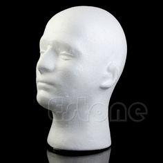 Male Mannequin Styrofoam Foam  Manikin Head Model Wig Glasses Hat Display Stand #Unbranded