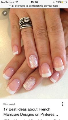 Wedding Nails For Bride Acrylic French Manicures Ring Finger 24 Ideas - Care - Skin care , beauty ideas and skin care tips Acrylic French Manicure, French Pedicure, Glitter French Nails, Wedding Nails For Bride, Bride Nails, Nail Manicure, Nail Polish, Dipped Nails, Super Nails