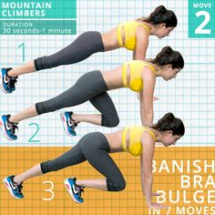 Mountain Climbers  1. Start in plank position, hands directly underneath your shoulders, elbows locked, abs tight and engaged, glutes squeezed, knees and feet together.  2. Raise one knee up, bent in towards your chest with the ball of the foot planted on the ground.  3. Jump and switch the position of the legs while you're still in the air. Focus on keeping the body straight and in that tight plank position throughout.