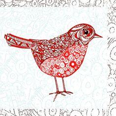 Jane Heyes - Christmas Robin Pattern Red White Detail