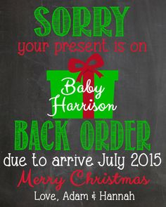 Christmas Pregnancy Announcement Chalkboard by LaLaExpressions