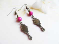 Mirror earrings with pink man-made turquoise beads, antique style brass, vintage style jewelry, Selma Dreams, jewellery gifts for her by SelmaDreams on Etsy