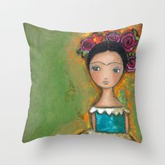 Frida by Flor Larios Throw Pillow by Flor Larios Art - $20.00