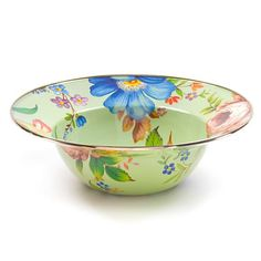 Flower Market Serving Bowl - Green: At last, a serving bowl that's equal to summer's freshest picks from the garden or orchard. The handy size is ideal for summer salads. Each Green Flower Market Serving Bowl is color-glazed enamelware with hand-applied fanciful botanical transfers on both sides that recall a lush English garden in the peak of summer. Pair with a Flower Market Serving Platter for a gift that's not likely to see the inside of a cupboard anytime soon.