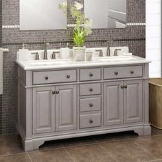 "Casanova 60"" Antique Gray Double Sink Vanity by Lanza"