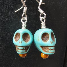 Turquoise Skull Earrings @veetee #skull #earrings #handmade #etsy #turquoise #halloween #dayofthedead #deatheaters #harrypotter $7.00