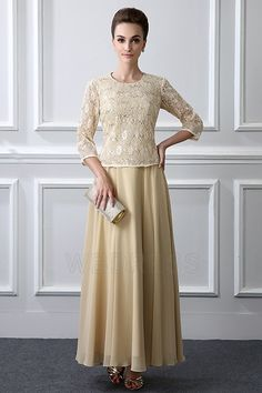 A-Line/Princess Jewel Neck Ankle-length Mother of the Bride Dress With Lace