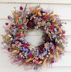 "Romantic Fall Wreath, ""Wildflowers"" Dried Floral Wreath, Year Round Wreath, Door…"