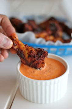 Better than fried. Baked Brown Sugar Chicken Wings with Roasted Red Pepper Cream Sauce