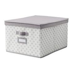 SVIRA Kannellinen laatikko - 39x48x28 cm, harmaa/valkoinen kukkia - IKEA
