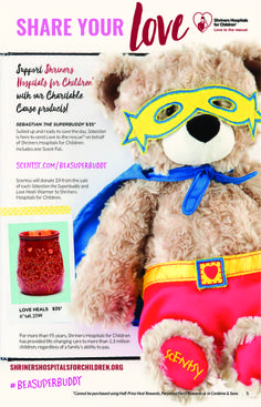 Suited up and ready to save the day, Sebastian is here to send Love to the rescue® on behalf of Shriners Hospitals for Children. Includes one Scent Pak. Scentsy will donate $8 from the sale of each Sebastian the Superbuddy and Love Heals Warmer to Shriners Hospitals for Children. NEW March 1, 2017…