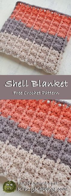 Baby Blanket Free Crochet Patterns – Krazykabbage … - Do It Yourself And Crafts Crochet Crafts, Crochet Projects, Knit Crochet, Chunky Crochet, Crochet Shell Stitch, Crochet Humor, Hand Crochet, Knitting Projects, Crochet Stitches Patterns