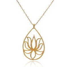 Teardrop Lotus Necklace in Gold