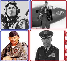 "Chuck Yeager (1923- ) Yeager was born in Myra, West Virginia and his family later moved to Hamlin, WV. He was an air force officer and the first pilot to break the sound barrier. He did so in 1947 in a plane nicknamed ""Glamorous Glennis""."