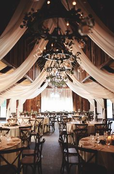Draping in the Carriage House Floral & Décor by Duvall Events Catering by Duvall Events Photos by Th Wedding Venue Decorations, Barn Wedding Venue, Wedding Draping, Wedding Flowers, Country Barn Weddings, Cowboy Weddings, Outdoor Weddings, Barns For Weddings, Retro Weddings