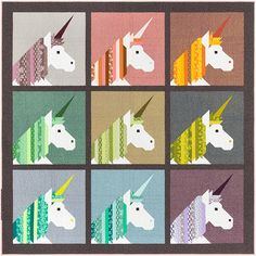 Lisa the Unicorn quilt sewing pattern by Elizabeth Hartman Use pre-cut inch fabric strips and conventional patchwork piecing techniques to make these magical unicorn blocks for two quilt sizes and a floor pillow. Lisa, Quilt Patterns, Sewing Patterns, Quilting Ideas, Quilting Projects, Sewing Projects, Quilting 101, Patchwork Patterns, Square Patterns