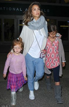 Jessica Alba's husband hobbles on crutches while daughter sports a Band-Aid as star ferries her family through LAX after holiday | Daily Mail Online
