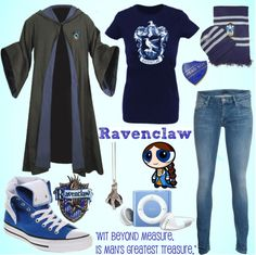 """""""ravenclaw outfit"""" by alltimeinsane-slytherinmybedplzz ❤ liked on Polyvore"""