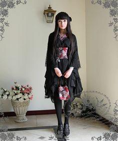 Special design & elaborate fabric Wa Style Kimono Yukata outfit, hand made, providing pre-made sizes for instant shipping, custom sizes also doable, express shipping Black Kimono, Long Kimono, Dress Skirt, Lace Dress, Kimono Outfit, Lace Jacket, Gothic Lolita, Lolita Style, Yukata
