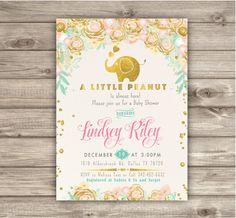 Elephant Baby Shower Invitation Boy A little Peanut Elephant Printable Floral mint gold pink Baby Girl Glitter Couples Shower Sip see NV2133 #PinkElephantBabyShower printable invitations pink and gold baby shower girl shower elephant invitations little peanut elephant girl shower cute elephant shower invitations printable elephant mint gold glitter 15.00 USD cardmint