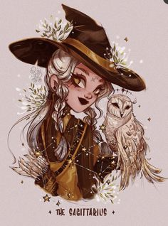 Beautiful Drawings, Cute Drawings, Wizard Drawings, Sagittarius Art, Witch Drawing, Zodiac Characters, Witch Art, Zodiac Art, Sketchbook Inspiration