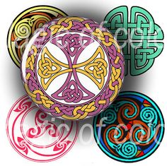 Multi-coloured celtic ornament - 40 1 Inch and 2 Inch Circles JPG images - Digital  Collage Sheet