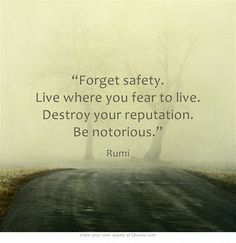 """""""Forget safety. Live where you fear to live. Destroy your reputation. Be notorious."""""""