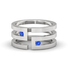 Sterling Silver Ring with Sapphire | Labyrinth Ring | Gemvara