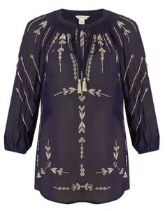 Monsoon - Emma Embroidered Top - Navy
