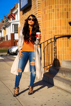 #denim #fashion #style http://www.nytrendymoms.com/2014/12/denim-heels-and-sweater.html