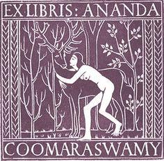 Eric Gill, book plate, Girl with deer, 1920. (Ananda Coomaraswamy born 1877)