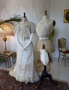 1903 BUZENET Ball Gown, Paris, antique evening dress, antique gown, Edwardian