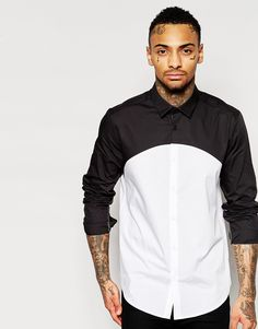 Image 1 of ASOS Shirt In Long Sleeve With Cut And Sew