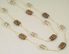Gold layering necklace, brown gemstone wire wrapped necklace by BellesBijouxDesigns on Etsy
