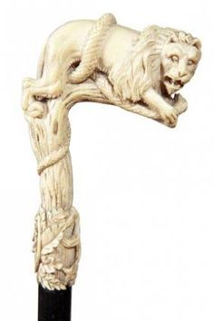 Ivory Lion Walking Stick-Ca. 1885-Custom Carved Lion And Snake