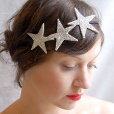 Clementine — Astral Crown ~ Silver or Gold Glass Stars Bling Bling, Space Costumes, Group Costumes, Star Costume, Barrettes, Glitter Stars, Silver Stars, Elastic Headbands, Fancy Dress