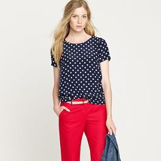 Love this top, still navy and white but no stripes! And I love the red pants. I so need a pair!