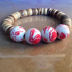 Tan Coconut Beaded Bracelet with Red-White Acrylic Rubber beads by CVioletJewelry