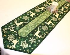 Long Christmas Quilted Table Runner Reindeer by QuiltSewPieceful