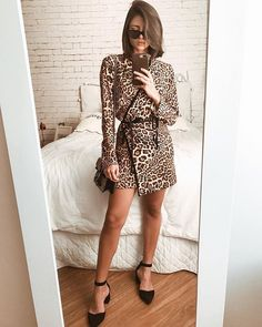 Animal Print Dress Outfits, Leopard Print Outfits, Animal Print Fashion, Fashion Prints, Blusas Animal Print, Vestidos Animal Print, Ny Fashion, Fashion Looks, Fashion Outfits