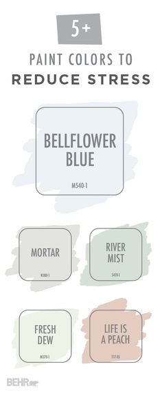Your stress will simply melt away with this stress-reducing color palette from BEHR Paint. Shades like Bellflower Blue, Mortar, River Mist, Fresh Dew, and Life Is A Peach introduce a subtle pop of color into your home while still creating a relaxing and soothing environment. Explore the rest of the interior paint colors that BEHR offers to create the perfect look for your home.