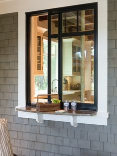 Great idea to have a ledge off a window to serve straight from the kitchen!