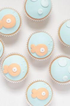 Mermaid/under the sea party: Fish cupcakes