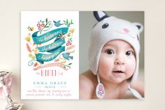 The Birds and the Bees Birth Announcements by Lori. Baby Boy Birth Announcement, Birth Announcements, Pretty Kids, Birds And The Bees, Paper Supplies, Custom Stamps, Stationery Design, Lettering Design, Baby Fever