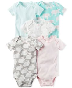 Carter's 5-Pk. Cotton Bunny & Elephants Bodysuits, Baby Girls (0-24 months)
