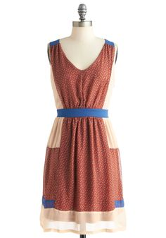 Craft a Story Dress by Ryu - Mid-length, Red, Blue, Tan / Cream, Casual, Sleeveless, Rustic, Sheer, V Neck
