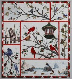 Photo Gallery: Audubon's Christmas    Audubon's Christmas    47 x 52 27 birds in 7 panels each quilted. Pattern available!    separately 2000 yards of thread. Hand applique, trapunto, shadow trapunto.    1st Place Domestic machine quilted (Bernina) AQS Paducah 2012, Viewers Choice Award too.    Awards Road 2 California Int. 2012  This is amazing!!!