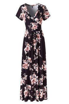 1c0b93ebe94c Kranda Womens Vintage Floral Print Short Sleeve Maxi Long Party Dress at  Amazon Womens Clothing store
